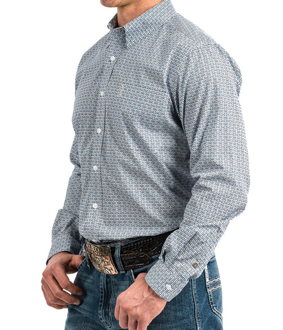 Cinch Men's Gray Geometric Print Western Button-Down Shirt