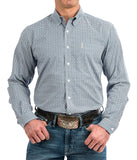 CINCH MENS PURPLE, TURQUOISE AND GRAY GEOMETRIC PRINT WESTERN BUTTON-DOWN SHIRT