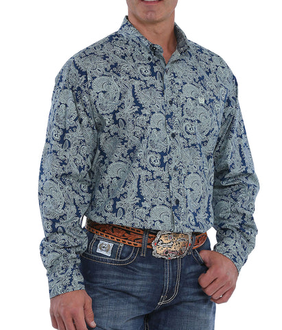 Cinch Men's Navy Paisley Print Long Sleeve Western Shirt