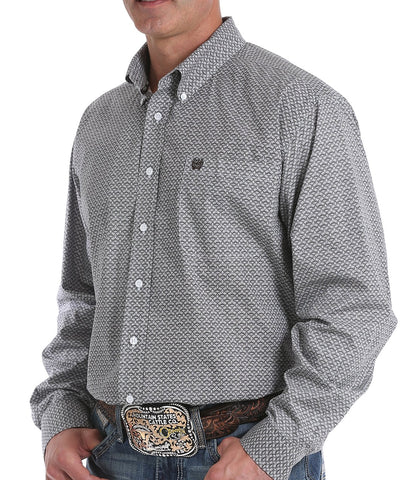 Cinch Men's Light Blue Geometric Print Button-Down Western Shirt