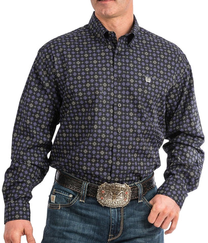 Cinch Men's Black And Purple Print Western Shirt