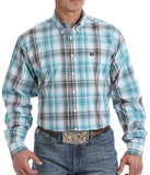 Cinch Men's Teal And White Multi Ombre Plaid Button-Down Western Shirt