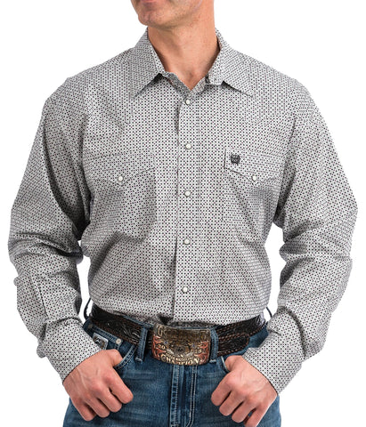 Cinch Men's Gray, Purple And Black Geo Print Snap Front Western Shirt