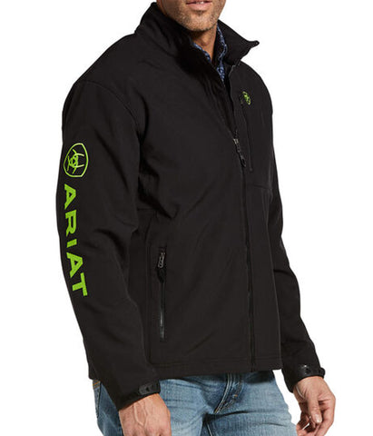 ARIAT® MEN'S LOGO 2.0 SOFTSHELL BLACK & LIME GREEN JACKET