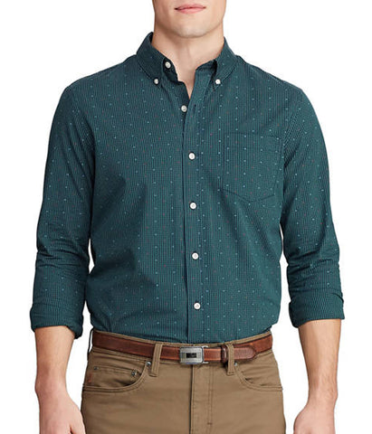 Chaps Men's Dark Green Stretch Easy Care Button Down Shirt