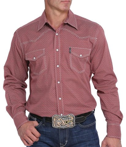 Cinch Men's Brick And White Geometric Print Western Snap Shirt