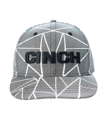 CINCH MENS FITTED CAP - TEXTURED GRAY AND WHITE S/M