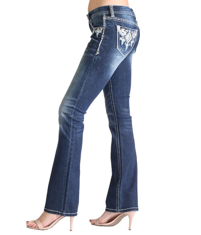 GRACE AZTEC EMBELLISHED BOOTCUT JEANS