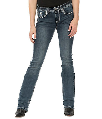 GRACE MEDIUM WASH FAUX FLAP STITCHED EDGE POCKET EASY FIT BOOT CUT JEAN