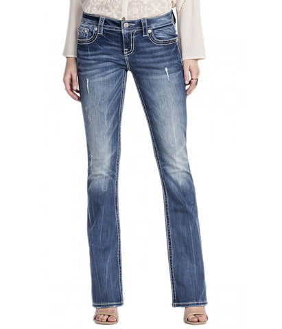 MISS ME SIGNATURE RISE MEDIUM WASH BOOT CUT DENIM