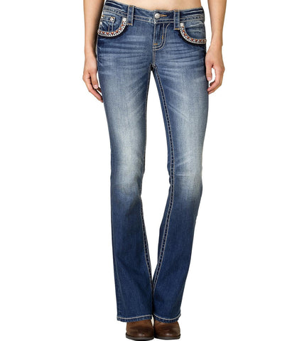 MISS ME Medium Wash Embroidered Bootcut Jeans