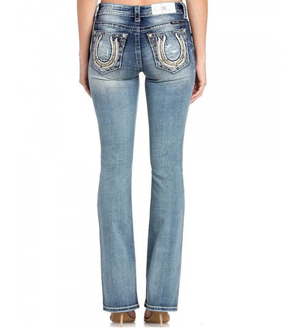 Miss Me Mid Rise Medium Wash Horseshoe Bootcut Denim