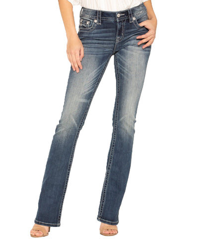 MISS ME Dark Wash Aztec Embroidered Boot Cut Jeans