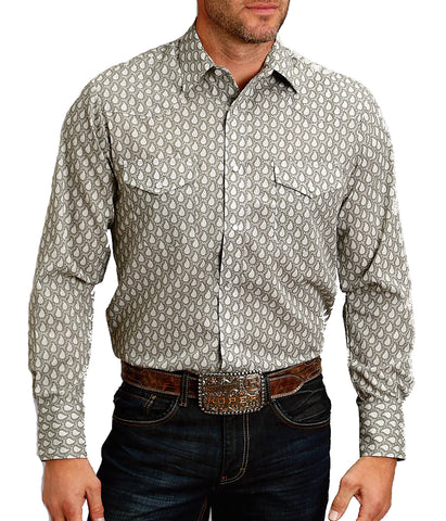 Roper Long Sleeve Grey Button Down Shirt