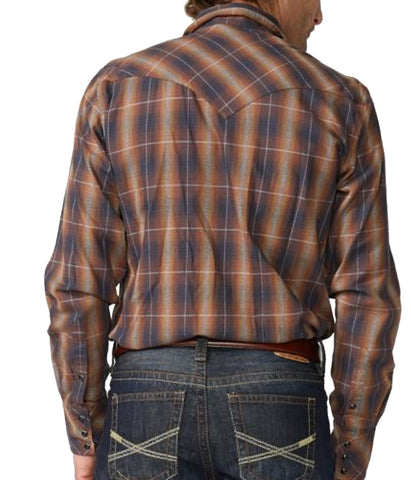 Stetson© Men's Original Rugged Snap Front Western Shirt In Marled Plaid