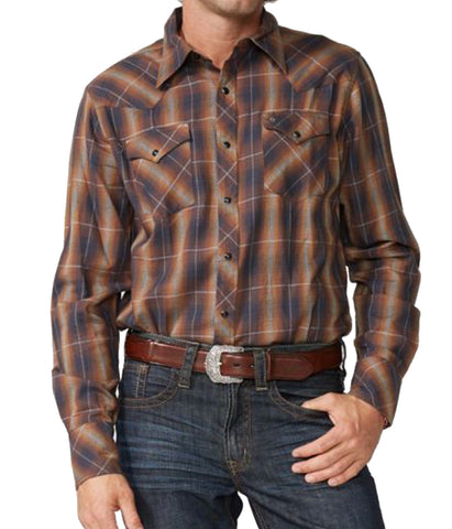 Stetson© Original Rugged Snap Front Western Shirt In Marled Plaid