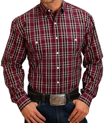 Stetson© Men's Plaid Satin Stitch Shirt
