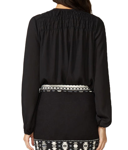 Stetson Black Crepe Shirred Yoke Blouse