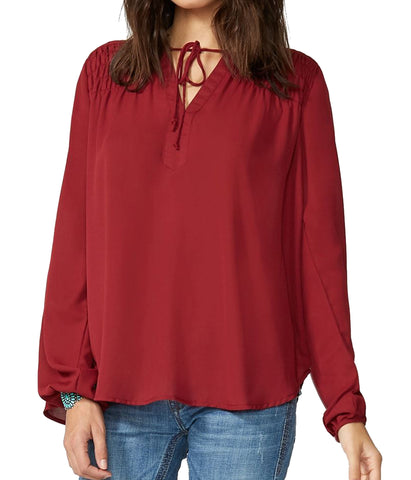 Stetson Wine Crepe Shirred Yoke Blouse