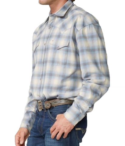 Stetson© Men's Modern Snap Front Western Shirt - Blue Sky Plaid Flannel
