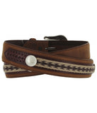 TONY LAMA THE DUKE CENTER APPLIQUE BELT - BARK