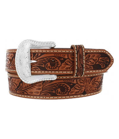 TONY LAMA FLORAL HAND TOOLED BELT - BROWN