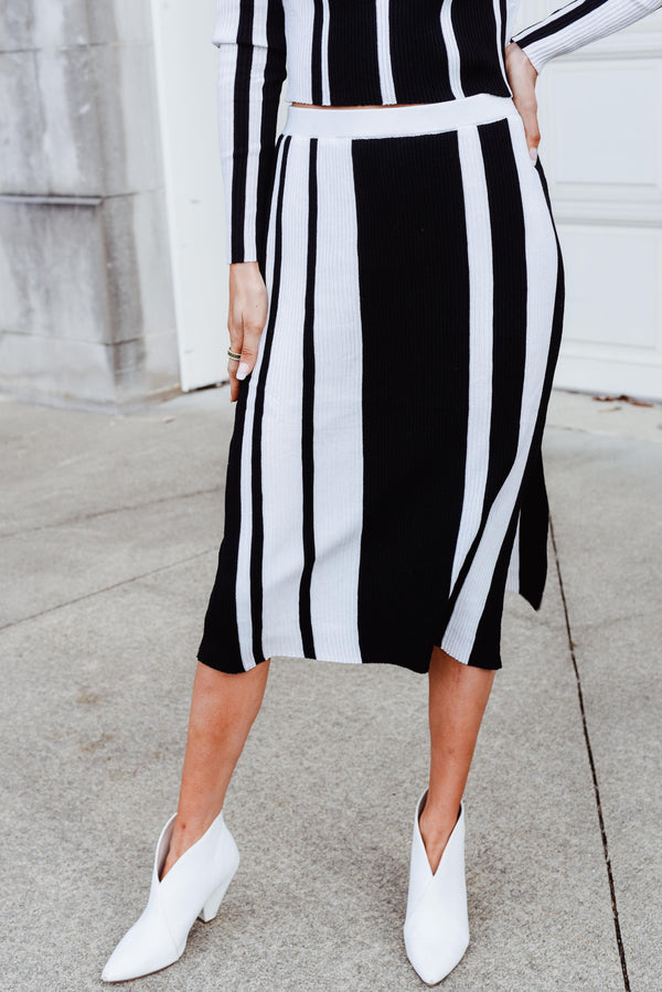 Study Hall Charcoal Black/White Midi Skirt (Lucy Paris)