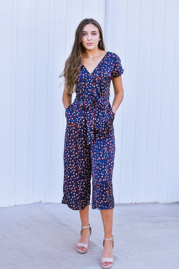 She's Got A Way Navy Print Jumpsuit