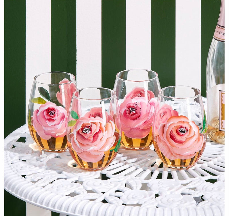 In Full Bloom Hand-Painted Roses Stemless Wine Glass - Posh Boutique KY