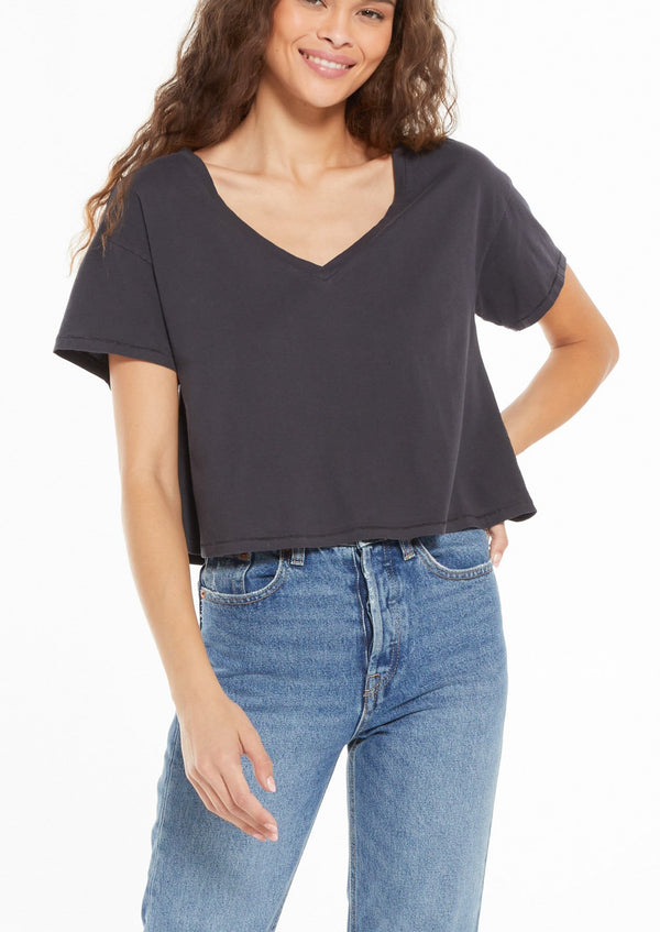 PARKER ORGANIC V-NECK TEE (Charcoal)