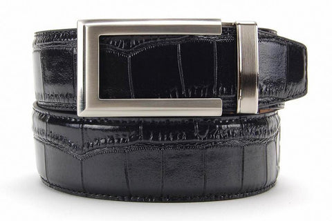 NexBelt Artemis Brushed Nickel Buckle PreciseFit w/ Alligator Dress Belt