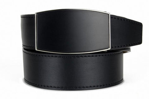 NexBelt Aston Brushed Nickel Finish Buckle PreciseFit w/ Black Leather Belt
