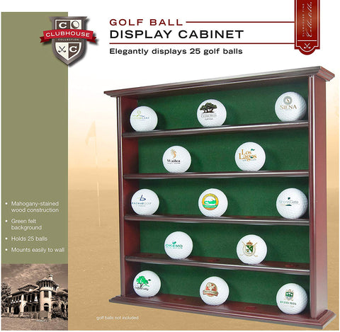 Wooden Golf Ball Display Cabinet 25 Golf Balls