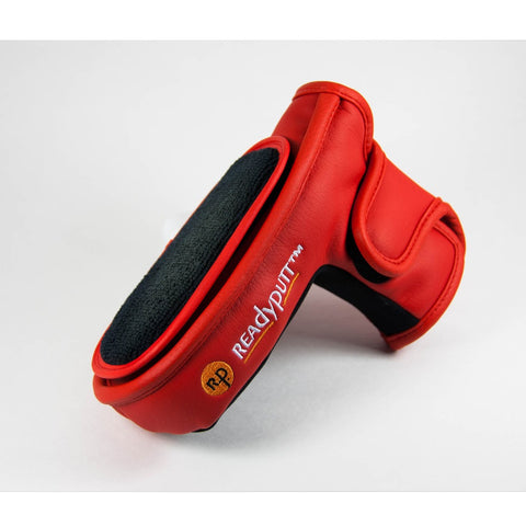 ReadyPutt Blade Mid-Mallet Putter Head Cover with Ball Cleaner - Red