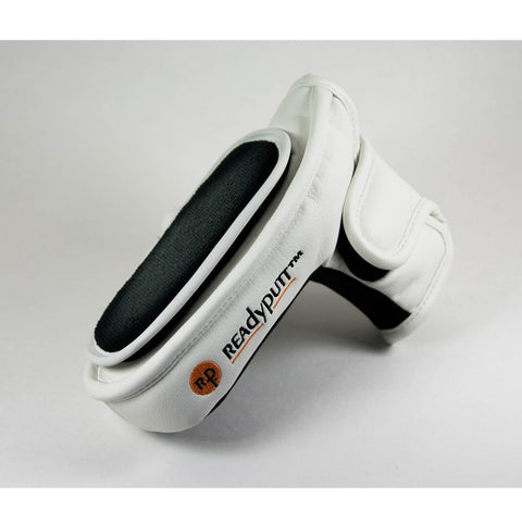 ReadyPutt Blade Mid-Mallet Putter Head Cover with Ball Cleaner - White