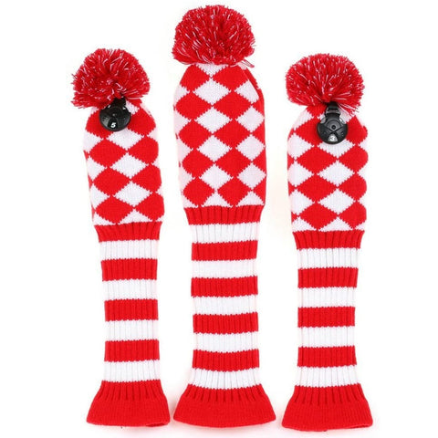 Volf Golf Knit Red White Diamond Headcover Set