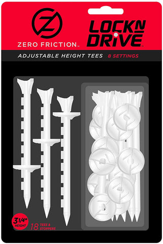 Zero Friction Lock N Drive 3-Prong Golf Tees (3-1/4 Inch, White, Pack of 18)