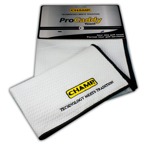 Champ Pro Caddy Golf Towel White