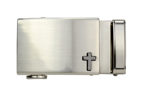 NexBelt Faith Series Classic Cross Nickel Finish with Gunmetal Cross