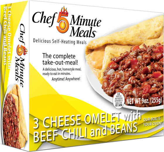 Chef 5 Minute Meal Cheese Omelet w/ Beef Chili & Beans - Case