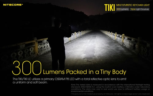 .Nitecore Tiki 300 Lumen USB Rechargeable Keychain Flashlight