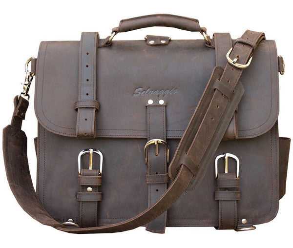 Selvaggio Handmade Rugged Leather Briefcase & Backpack Heavy Duty