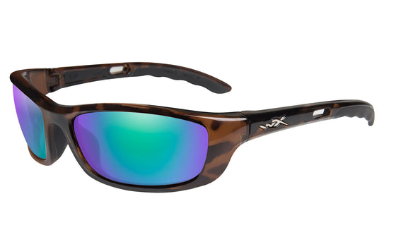 Wiley X P-17 Polarized Sunglasses - Emerald Mirror Lens - Black or Brown Frame