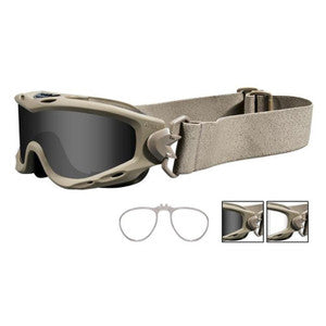 Wiley X Goggle Spear Ballistic Smoke Grey/Clear Lenses/Tan Frame