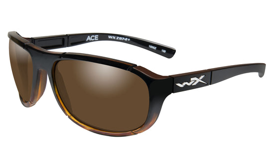 Wiley X Ace Sunglasses Polarized Bronze Lens Gloss Tortoise Fade Frame