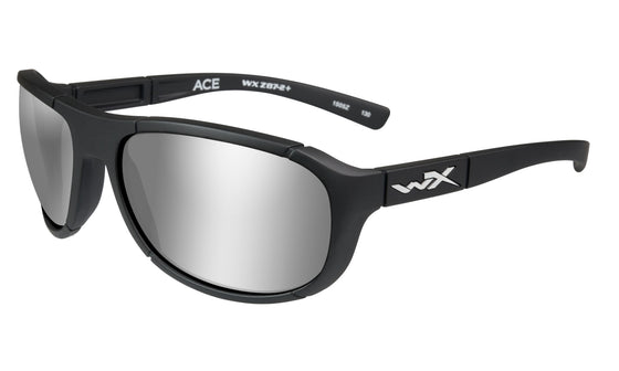 Wiley X Ace Sunglasses Polarized Grey Silver Flash Lens Matte Black Frame