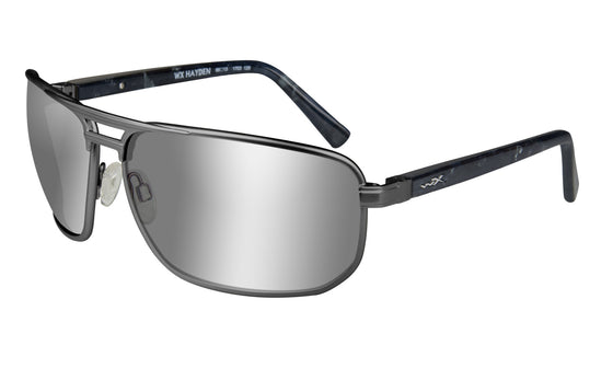 Wiley X Hayden Sunglasses Polarized Grey Silver Flash Lens Matte Dark Gunmetal Frame