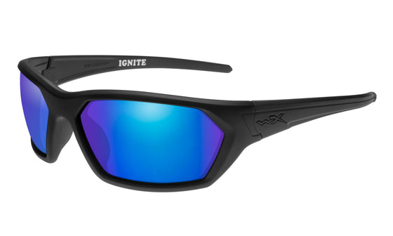 Wiley X Ignite Sunglasses Polarized Blue Mirror Lens Matte Black Frame