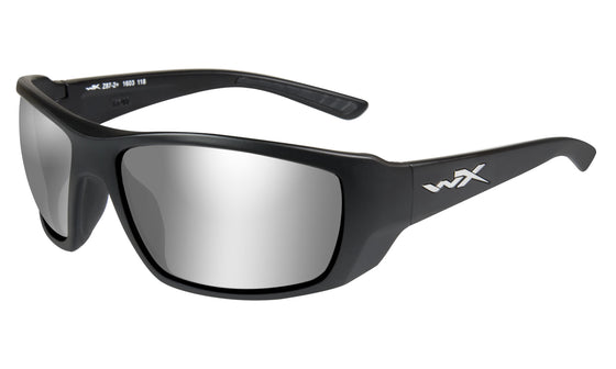 Wiley X Kobe Sunglasses Sliver Flash Smoke Grey Lens Matte Black Frame