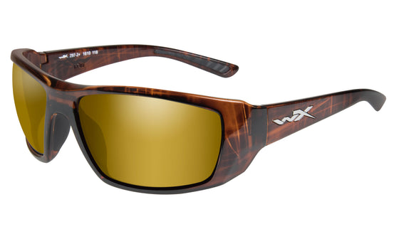 Wiley X Kobe Polarized Venice Gold Mirrored Sunglasses Hickory Brown Frame